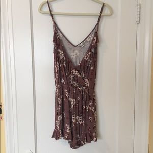 American Eagle Outfitters Purple Floral Romper S